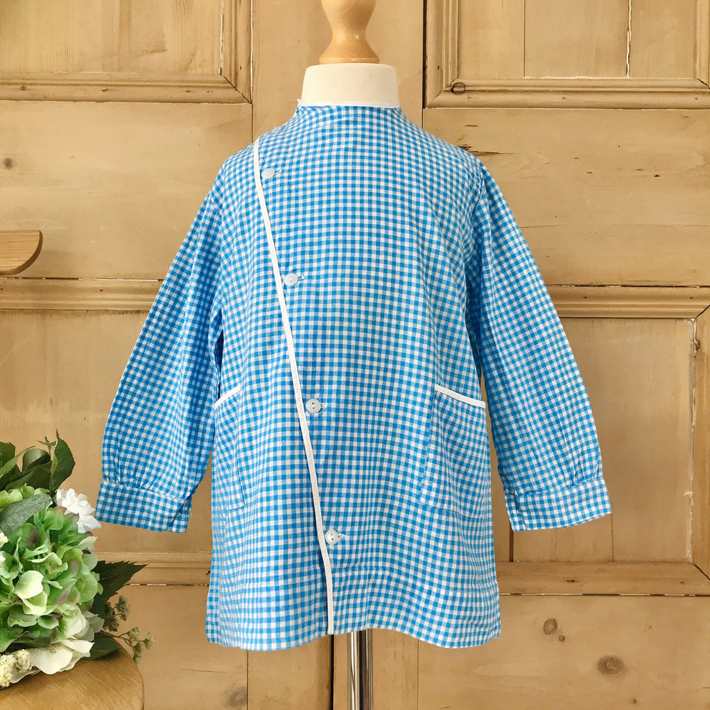 Vintage 1960's Children Gingham Blue Shirt/Blouse Made in France 4-5 Years-Tops-Petit Pays Vintage