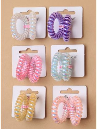 Mini Metallic Telephone Cord Hair Ties