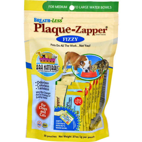 Ark Naturals Breath-less Plaque-zapper - Fizzy - Medium To Large Pets - 30 Count