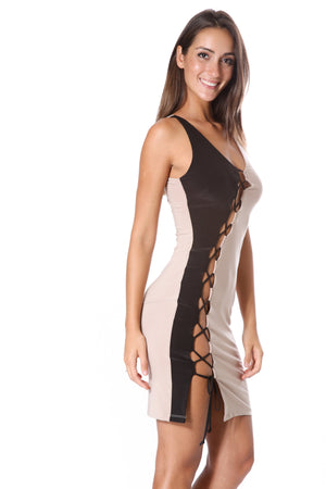 Lace Up Two Toned Bodycon Dress