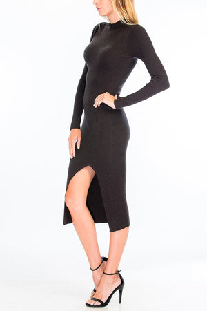 Mock Neck Midi Sweater Dress