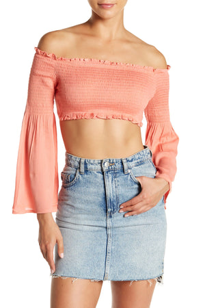 Off-the-Shoulder Long Sleeve Crop Top