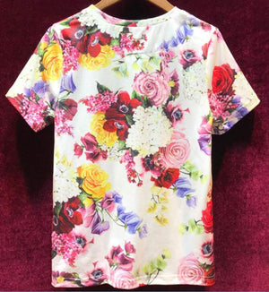 Fashion Flower Print T-Shirts Women's