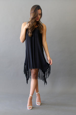 Thick Strap Tassel Dress