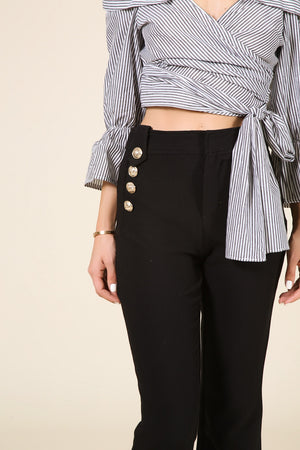 Black Culotte Pants with Gold Buttons