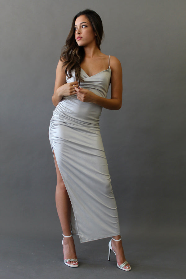 Metallic Dress With Side Slit