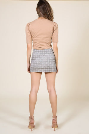 Asymmetric Plaid Mini Skirt