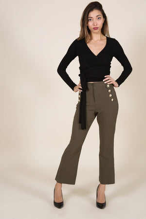 Olive Culotte Pants with Gold Buttons