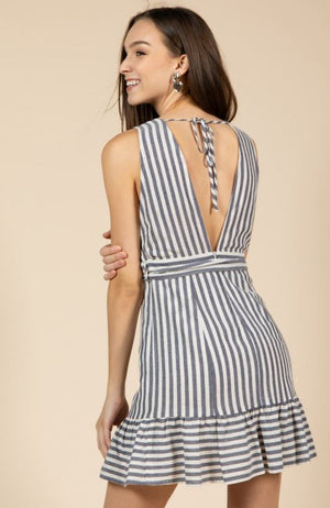 Striped Short Dress with Flounce Bottom and Self Ties