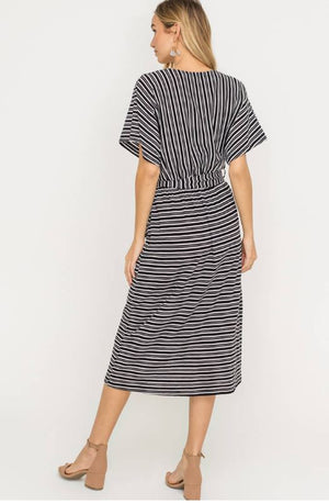 Wrap Style Belted Midi Dress