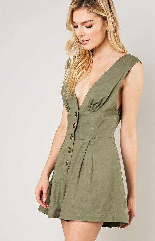 Button Down V-Neck Romper