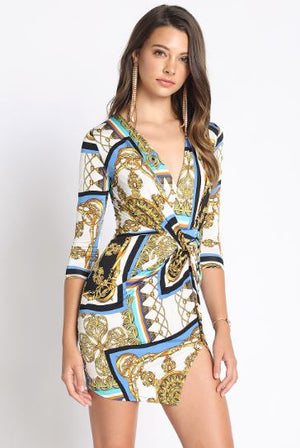 Chain Print Bodycon Mini Dress