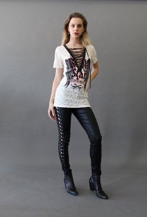 Lace Up V-Neck Rockstar T-Shirt