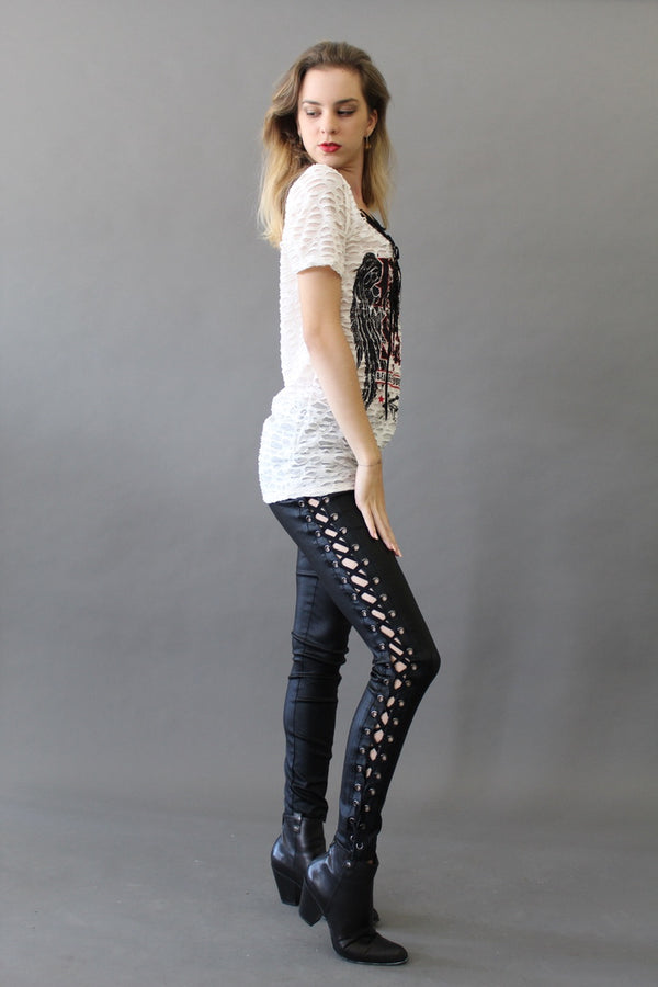 Lace Up Skinny Leather Pants