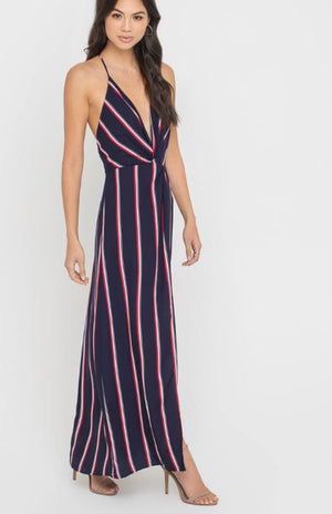 Twist Front Flowy Maxi Dress
