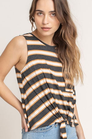 Striped Tie Hem Tank