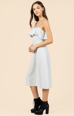 Overlay Pinestripe Midi Dress