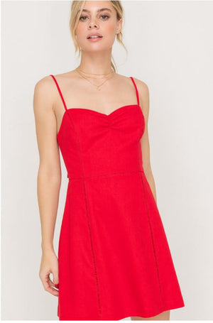 Seam Accent Tie Back Cocktail Dress