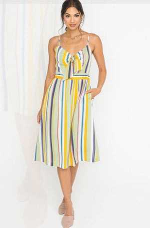 Tie Front Striped Midi Dress