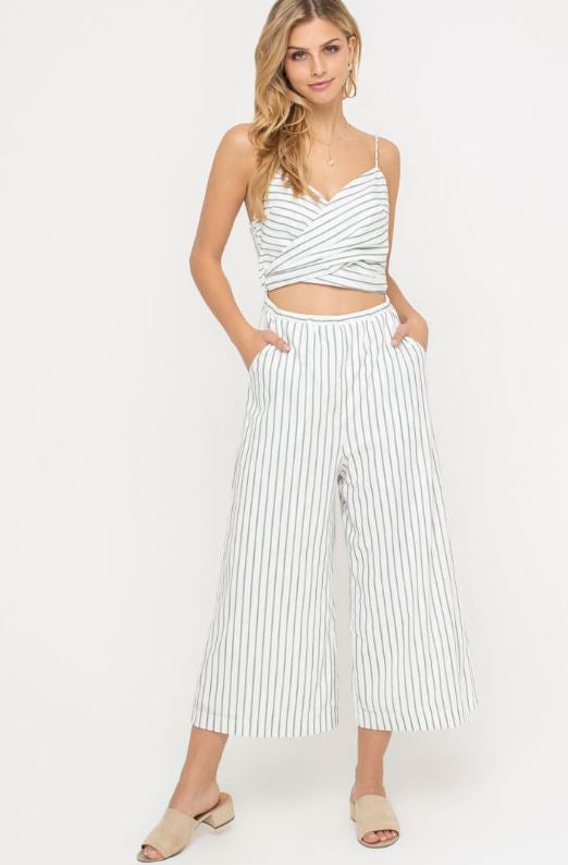 Cami Front Wrap Striped Jumpsuit