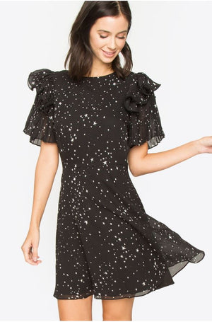 Sascha Pleated Sleeve Dress