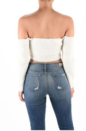 Off Shoulder Crop Sweater Top