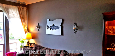 Custom Metal Art Work Oregon Salmon