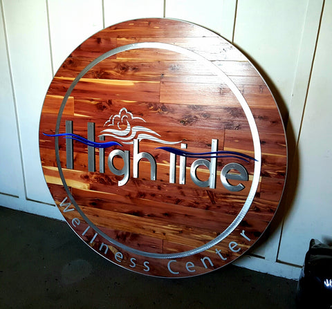4' Diameter Custom Business Logo - Red Cedar Wood and Metal