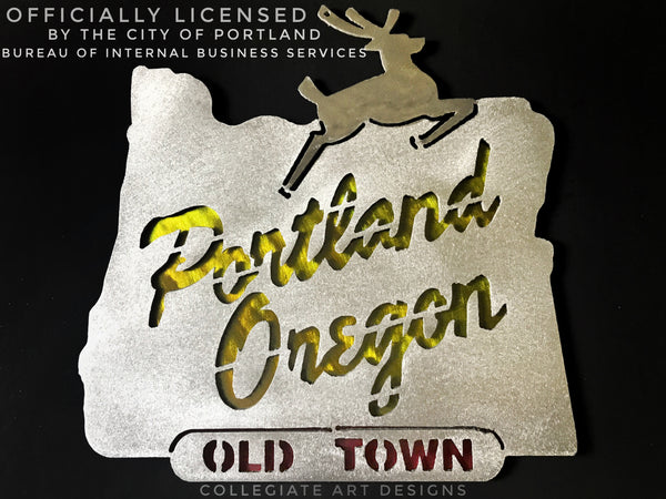 Portland Oregon Sign - Yellow and Red