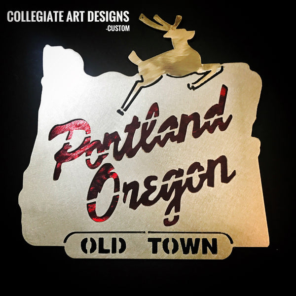 Portland Oregon Sign - Red and Black