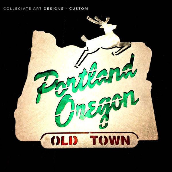 Portland Oregon Sign - Green and Red