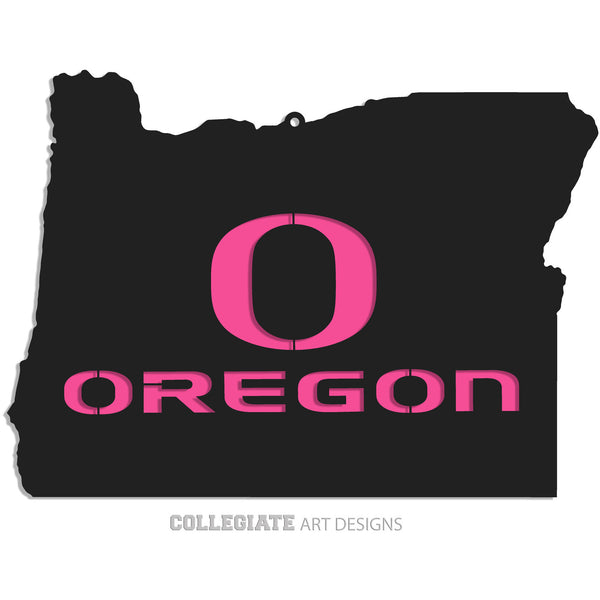 O-Oregon In Oregon - Black on Pink - Wall Art