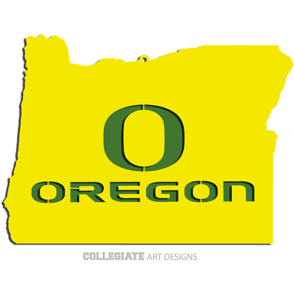 O-Oregon In Oregon - Yellow on Green - Wall Art