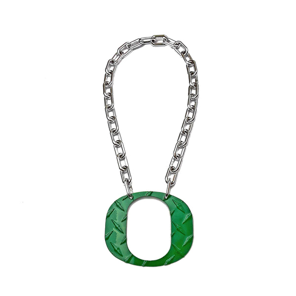 O Chain - Large Green Diamond Plate - O Necklace