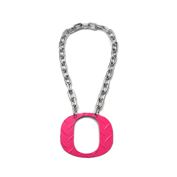 O Chain - Large Pink Ducks O Diamond Plate - O Necklace