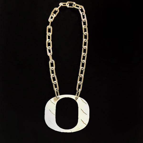 O Chain - Large White Ducks O Diamond Plate - O Necklace