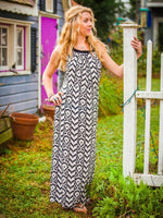 Maxi 70's Style Halter Dress In Boho Print
