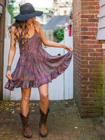 Tie Dyed Short Boho Dress With Open Back & Layers