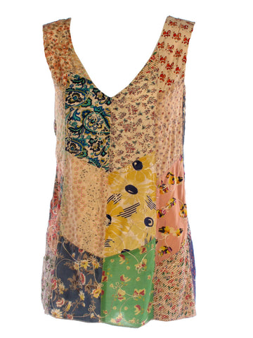 Patchwork Rayon Fair Trade  Sleeveless V-NeckTank