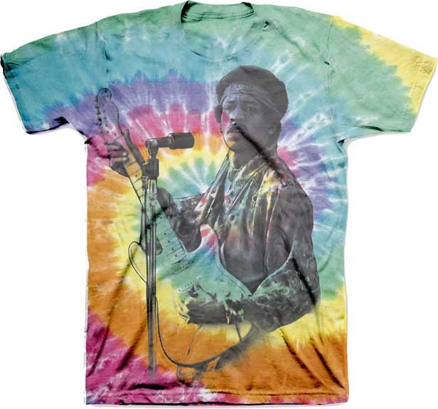 Jimi Hendrix Photo on Retro Spiral Tie Dye