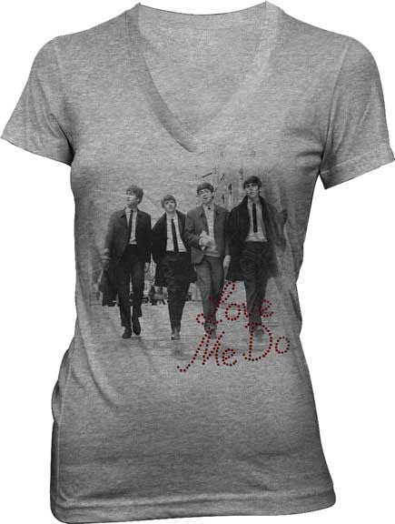 "Beatles Ladies Heather Grey V-Neck ""Love Me Do"" T-Shirt"