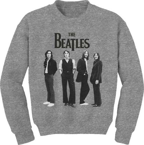 The Beatles Standing Photo on a Heather Crew Sweatshirt