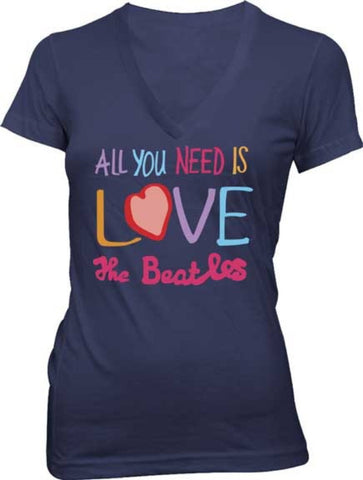 Beatles-Ladie V-Neck All You Need Is Love Navy Cotton T-shirt