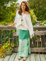 Green and White Tie Dyed Maxi Skirt