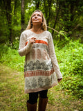Lace Top Tunic with India Print