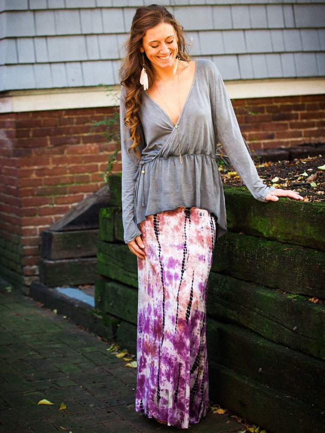 Tie Dyed Maxi Skirt in Burgundy Rayon/Lycra Fabric
