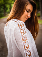 Long Sleeve White Cotton Blouse with Lace