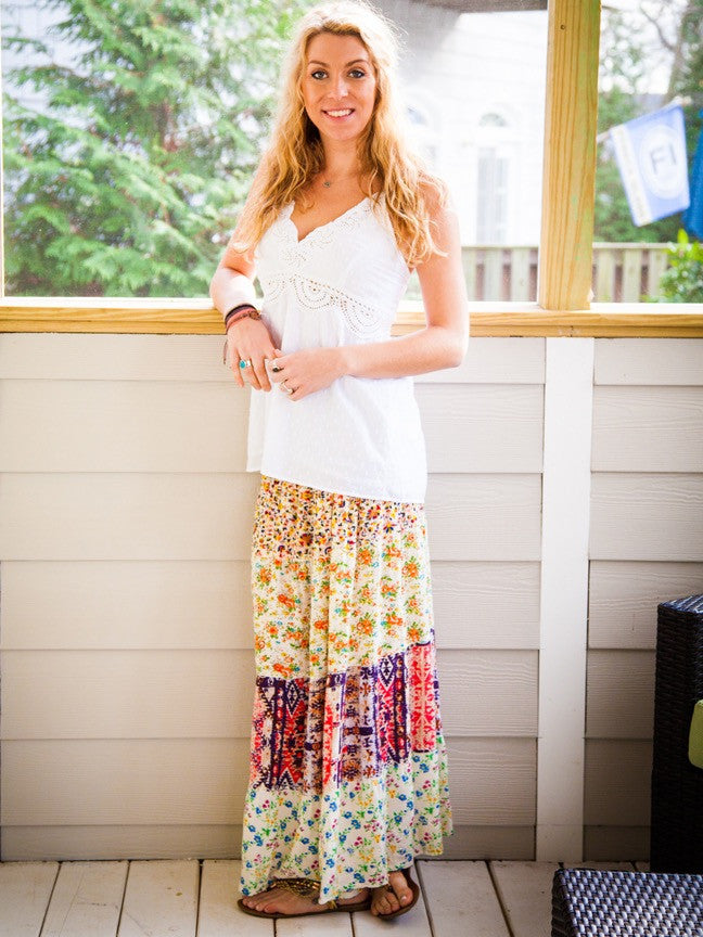 Long Hippy Patchwork Skirt Or Dress in Vintage Cotton Prints