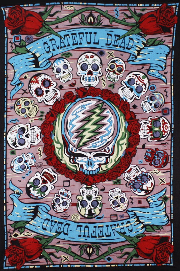 Mini-Tapestry Grateful Dead Mexicali Skulls in 3D