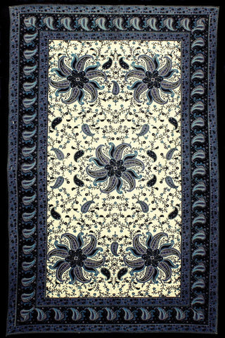 Blue Pinwheel India Style Tapestry